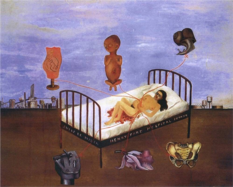 Frida Kahlo, Henry Ford Hospital (The Flying Bed), 1932, Museo Dolores Olmedo, Mexico (image courtesy of www.fridakahlo.org)